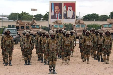 FILE PHOTO: Somali military officers attend a training programme by the United Arab Emirates at their military base in Mogadishu
