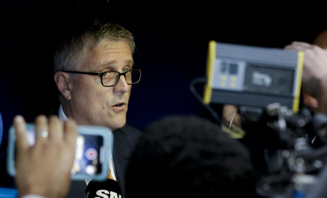 Astros general manager, Jeff Luhnow speaks during a news conference before Game 4 of the ALCS in Houston. (AP)