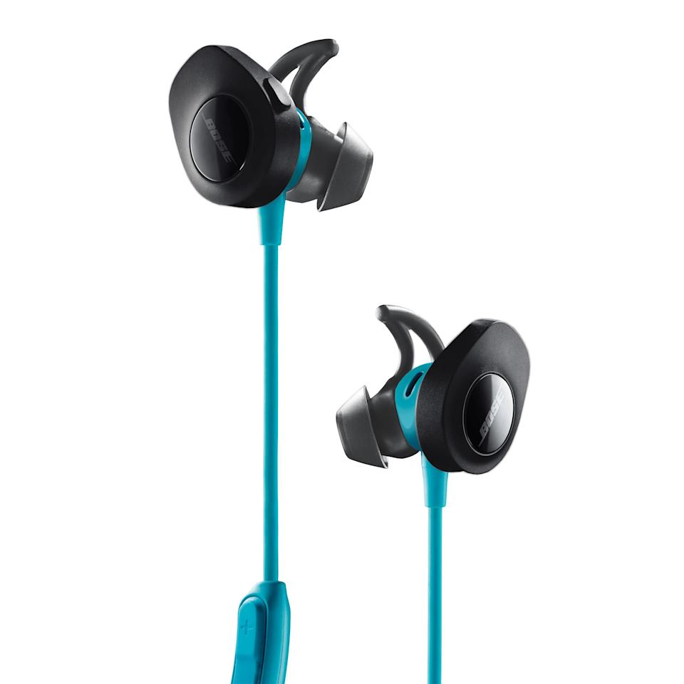 "<p><strong>Bose</strong></p><p>amazon.com</p><p><strong>$129.00</strong></p><p><a href=""https://www.amazon.com/dp/B01L7PWBRG?tag=syn-yahoo-20&ascsubtag=%5Bartid%7C2089.g.1545%5Bsrc%7Cyahoo-us"" rel=""nofollow noopener"" target=""_blank"" data-ylk=""slk:Shop Now"" class=""link rapid-noclick-resp"">Shop Now</a></p><p>The workout-friendly Bose SoundSport Wireless earbuds have a lightweight body and a reliably comfortable fit. Users can connect the earphones to a mobile app and tweak their settings.</p><p>The headset is capable of delivering up to 6 hours of wireless tunes between battery charges and comes bundled with a handy carrying case with a built-in carabiner. Bose offers the SoundSport Wireless in a trio of colors: aqua, black, and citron. </p>"