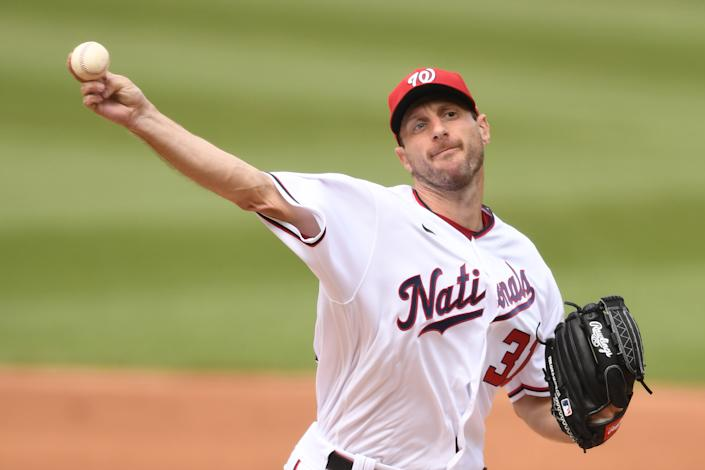 WASHINGTON, DC - JULY 18:  Max Scherzer #31 of the Washington Nationals pitches in the third inning during a baseball game against the San Diego Padres at Nationals Park on July 18, 2021 in Washington, DC.  (Photo by Mitchell Layton/Getty Images)