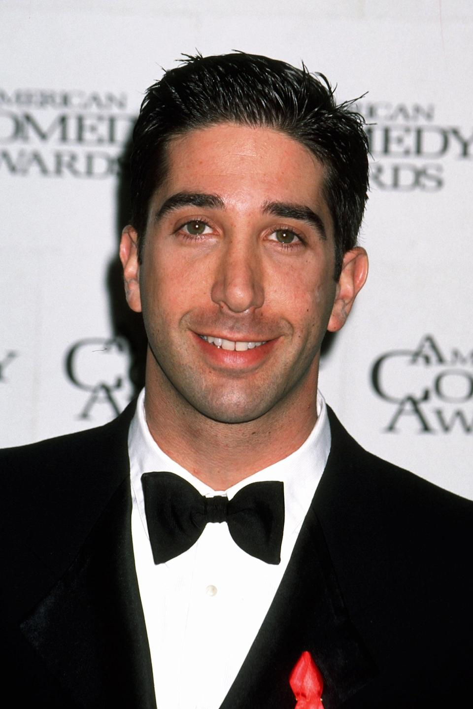 """<p>David Schwimmer was 28 years old when the first episode of <strong>Friends</strong> aired, making him only a few months older than his character, Ross Geller, who was on the cusp of 27. Schwimmer starred in the rom-com, <strong>The Pallbearer</strong>, alongside <a class=""""link rapid-noclick-resp"""" href=""""https://www.popsugar.co.uk/Gwyneth-Paltrow"""" rel=""""nofollow noopener"""" target=""""_blank"""" data-ylk=""""slk:Gwyneth Paltrow"""">Gwyneth Paltrow</a> and in <strong>Six Days Seven Nights</strong> in 1998. He was nominated for a Primetime Emmy for Outstanding Supporting Actor in a Comedy Series in 1995 for his role of Ross.</p>"""