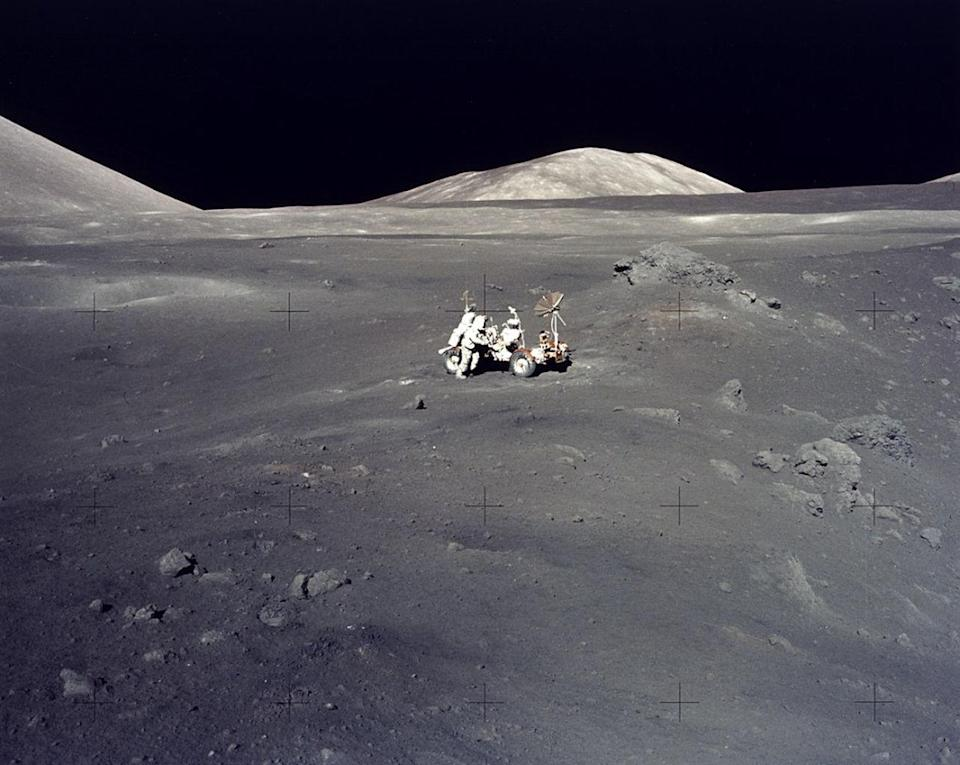 The Apollo 17 mission in December 1972 surveyed the Taurus-Littrow highlands and valley area. This site was picked as a location where rocks both older and younger than those previously returned from other Apollo missions might be found. <cite>NASA/Johnson Space Center</cite>