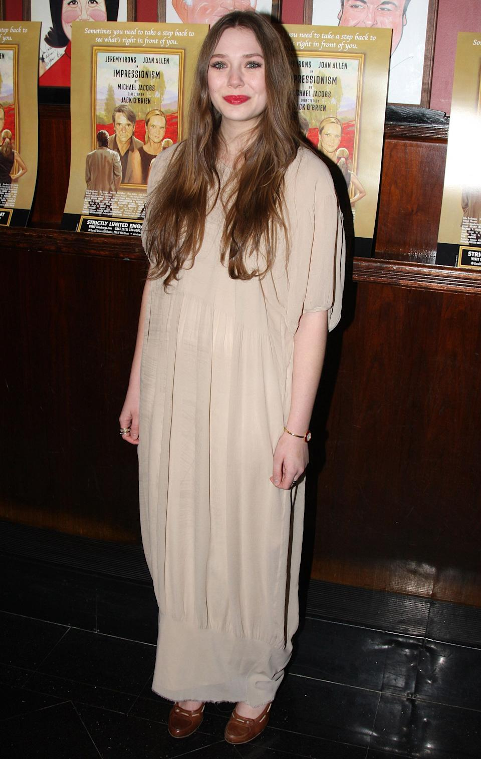 """Elizabeth Olsen at the after-party for the opening night of """"Impressionism"""" in New York City on March 24, 2009."""