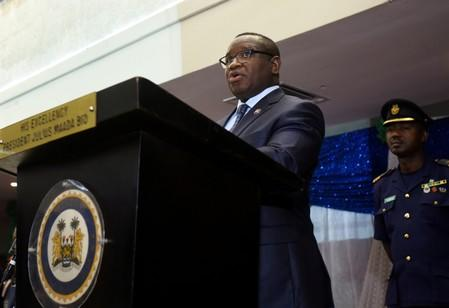 Sierra Leone's President Julius Maada Bio speaks during the launching of an online ID database in Freetown