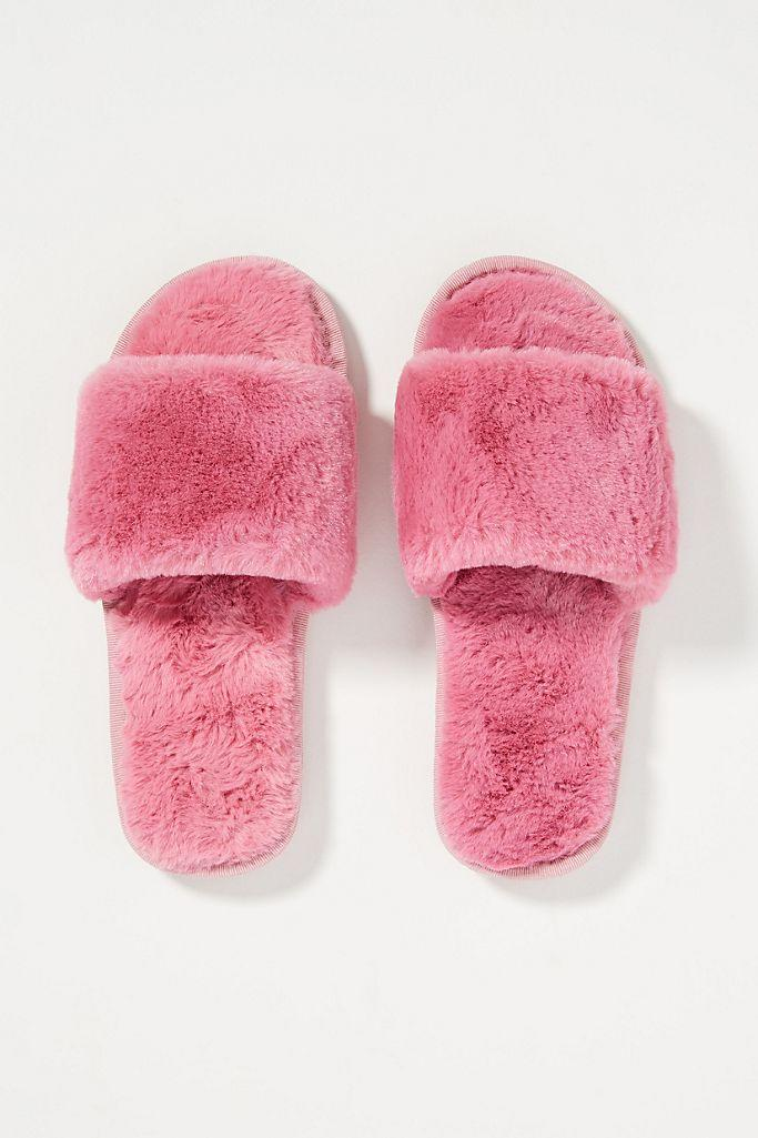 Sage Faux Fur Slippers are on sale for Black Friday.
