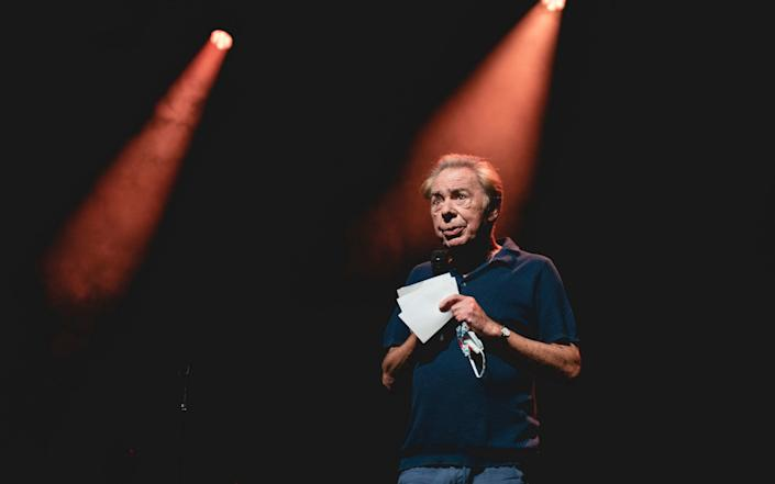 Andrew Lloyd Webber at the London Palladium during a pilot performance by Beverley Knight, which had strict social distancing measures in place - Andy Paradise
