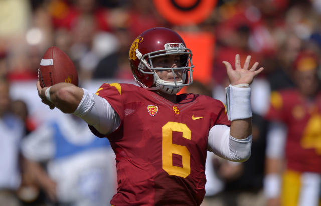 Southern California quarterback Cody Kessler passes during the first half of their NCAA college football game against Utah State, Saturday, Sept. 21, 2013, in Los Angeles. (AP Photo/Mark J. Terrill)