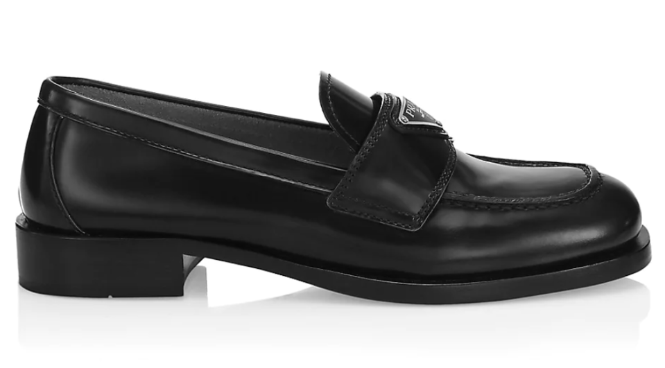 Prada's logo leather loafers. - Credit: Courtesy of Saks Fifth Avenue