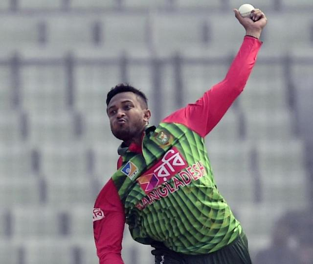 Bangladeshi bowler Shakib Al Hasan delivers the ball during the first One Day International (ODI) match of the Tri-Nations Series between Bangladesh and Zimbabwe in Dhaka on January 15, 2018