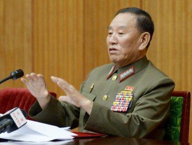FILE PHOTO: Kim Yong Chol speaks during an emergency briefing for diplomats basing in North Korea, in Pyongyang August 21, 2015, in this photo released by Kyodo. Mandatory credit REUTERS/Kyodo