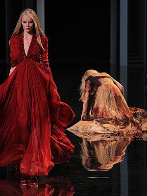 <p>Model Karolina Kurkova falls on the runway during the Elie Saab show as part of the Paris Haute Couture Fashion Week.</p>
