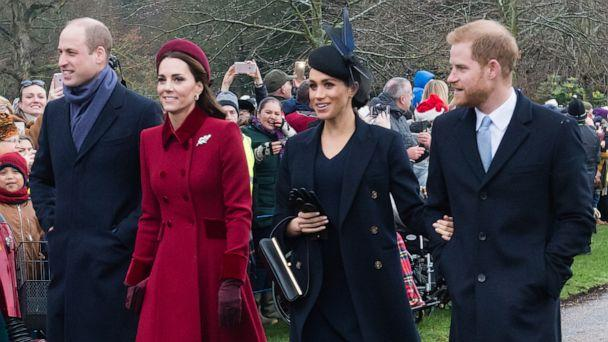 PHOTO: Prince William, Duke of Cambridge, Catherine, Duchess of Cambridge, Meghan, Duchess of Sussex and Prince Harry, Duke of Sussex attend Christmas Day Church service at Church of St Mary Magdalene, Dec. 25, 2018 in King's Lynn, England. (Samir Hussein/WireImage)