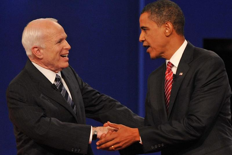 Barack Obama and John McCain greeting each other at the end of their final presidential debate in Hempstead, New York (AFP/Getty Images)