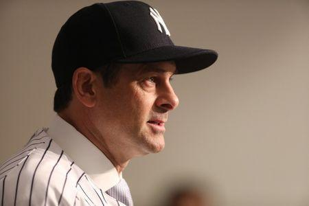 Dec 6, 2017; Bronx, NY, USA; New York Yankees manager Aaron Boone speaks at a press conference at Yankee Stadium. Kevin R. Wexler/Northjersey.com via USA TODAY NETWORK
