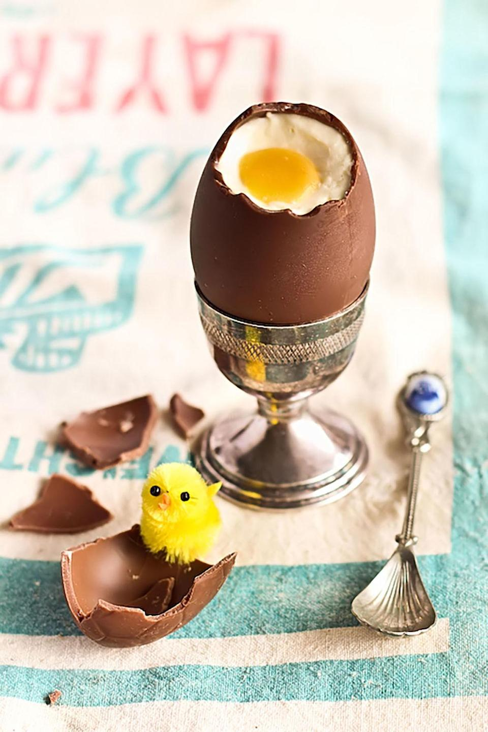 """<p><span>We're in awe of how realistic this treat is. Don't worry-only cheesecake and passionfruit sauce make up the filling of this delicious Easter egg.</span></p><p><strong>Get the recipe at <a href=""""http://www.raspberricupcakes.com/2012/04/cheesecake-filled-chocolate-easter-eggs.html"""" rel=""""nofollow noopener"""" target=""""_blank"""" data-ylk=""""slk:Raspberri Cupcakes"""" class=""""link rapid-noclick-resp"""">Raspberri Cupcakes</a>. </strong></p>"""