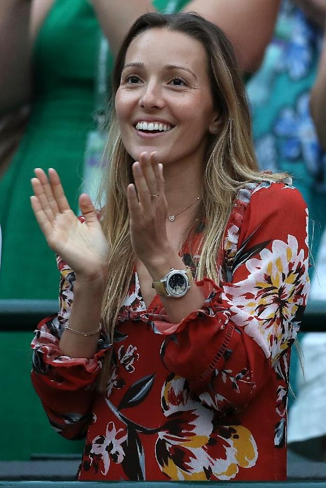That's my man: Jelena Djokovic cheers on husband Novak in his fourth round win over Karen Khachanov on Monday (AFP Photo/Daniel LEAL-OLIVAS)