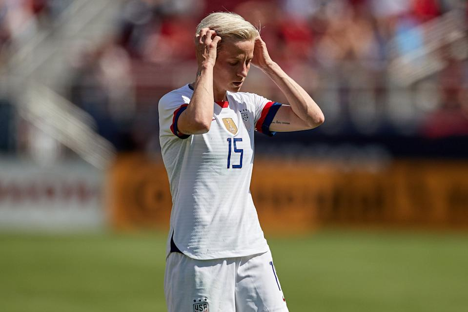 SANTA CLARA, CA - MAY 12: United States forward Megan Rapinoe (15) looks on in game action during an International friendly match between the United States and South Africa on May 12, 2019 at Levi's Stadium in Santa Clara, CA. (Photo by Robin Alam/Icon Sportswire via Getty Images)