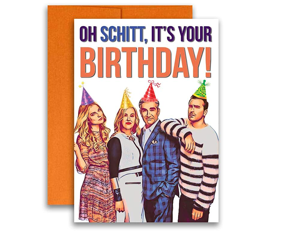 "<h2>""Schitt's Creek"" Birthday Card<br></h2><br>It's no surprise that swag surrounding this-<a href=""https://www.refinery29.com/en-us/2020/09/10036865/schitts-creek-emmy-wins-7-awards-comedy-series-record"" rel=""nofollow noopener"" target=""_blank"" data-ylk=""slk:Emmy winning comedy series"" class=""link rapid-noclick-resp"">Emmy winning comedy series</a> is trending. We are <em>so </em>bulk-buying this birthday card from Detroit-based seller Kimberly — just like the scores of other Amazon customers that helped boost this item's rating 166%, from slot 16 to no. 6.<br><br><strong>ChronicallyFunny</strong> Schitt's Creek Birthday Card, $, available at <a href=""https://www.amazon.com/Schitts-Birthday-Schitt-inches-Envelope/dp/B083815JHW/ref=zg_bsms_handmade_24"" rel=""nofollow noopener"" target=""_blank"" data-ylk=""slk:Amazon"" class=""link rapid-noclick-resp"">Amazon</a>"
