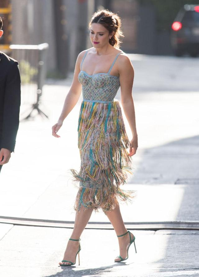 Mandy Moore wears a colorful Missoni fringe dress to <em>Jimmy Kimmel Live</em> on July 24. (Photo: RB/Bauer-Griffin/GC Images)