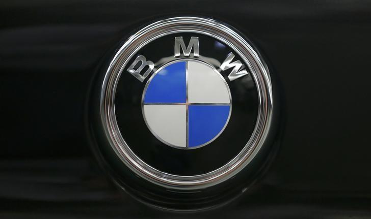 The BMW logo is seen on the hood of a finished X4 at the BMW manufacturing plant in Spartanburg