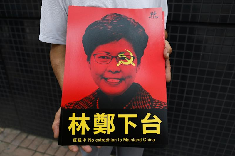 Hong Kong's appointed leader Carrie Lam has staked her political reputation on the bill passing (AFP Photo/DALE DE LA REY)