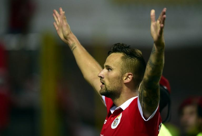 Benfica's Swiss forward Haris Seferovic celebrates after scoring a goal during the Portuguese league football match between GD Chaves and SL Benfica
