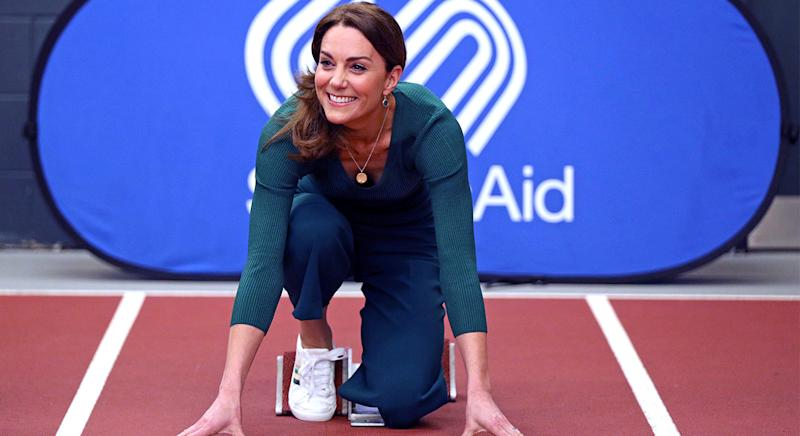 The Duchess of Cambridge debuted a pair of affordable M&S trainers at a SportsAid event in London. (PA)