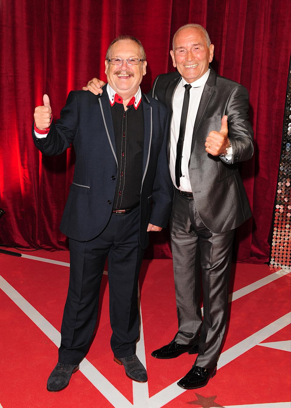 File photo dated 18/05/13 of Tommy Cannon (right) and Bobby Ball arriving for the 2013 British Soap Awards at MediaCityUK, Salford, Manchester. Bobby Ball, one half of the comedy double act Cannon and Ball, has died at the age of 76 after testing positive for Covid-19, his manager has said.