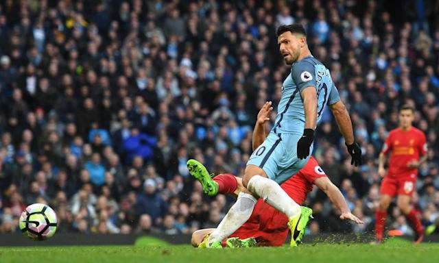 "<span class=""element-image__caption"">Sergio Agüero equalises for Manchester City in their 1-1 draw with Liverpool.</span> <span class=""element-image__credit"">Photograph: Michael Regan/Getty Images</span>"