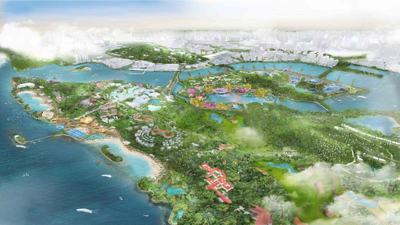 An artist's impression of the developments on Sentosa and Pulau Brani under the Sentosa-Brani Master Plan. (PHOTO: Sentosa Development Corporation)