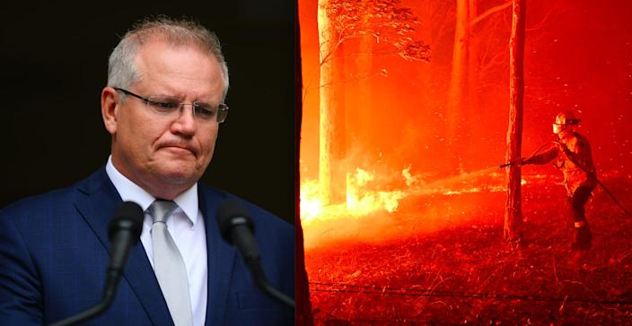 Left, Australian prime minister Scott Morrison issues a press statement in Adelaide, Australia, January 6, 2020. Right, a firefighter hoses down trees in an effort to secure nearby houses from bushfires in the town of Nowra in New South Wales, Australia, December 31, 2019.