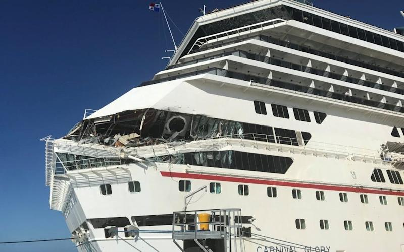 The damage to Carnival Glory after it collided with Carnival Legend - Jordan Moseley via REUTERS