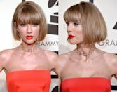<br>Taylor Swift debuted a bold new 'do at the Grammy Awards today, rocking a blunt bob. The 'Out of the Woods' singer appears to have lopped a few inches off her lob, while sticking with her natural dusty blonde hue. While we're not sure if this is a permanent change for the pop star just yet, but we love to see Tay mixing things up!