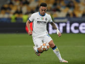 Inter Milan's Lautaro Martinez in action during the Champions League group D soccer match between Shakhtar Donetsk and Inter Milan at the Olimpiyskiy Stadium in Kyiv, Ukraine, Tuesday, Sept. 28, 2021. (AP Photo/Efrem Lukatsky)
