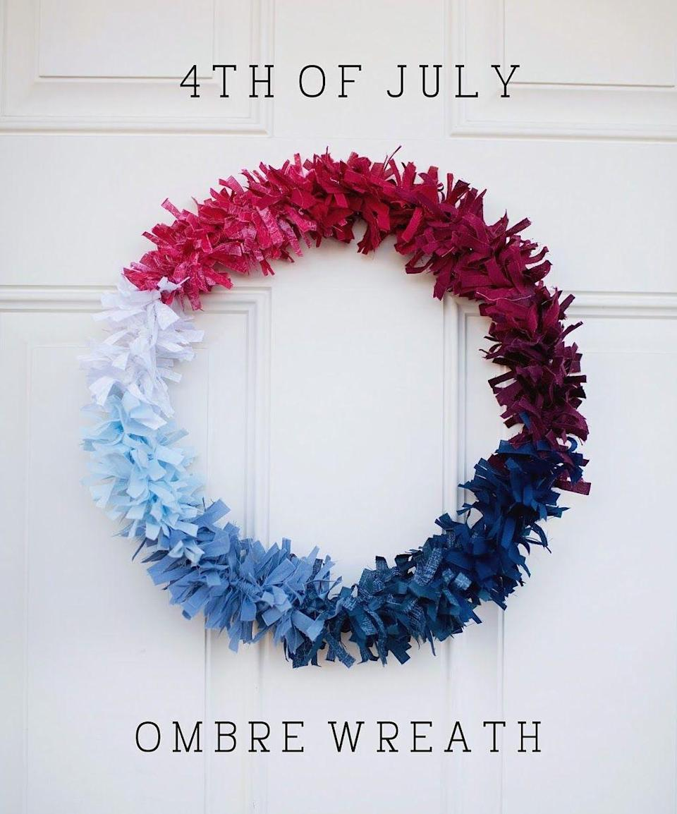 """<p>Looking for a craft to work on while watching the kids play outside? This red, white, and blue ombré wreath is super simple, but tying all those knots definitely takes awhile!</p><p><strong>Get the tutorial at <a href=""""https://tellloveandparty.com/2014/05/tell-fourth-of-july-wreath.html"""" rel=""""nofollow noopener"""" target=""""_blank"""" data-ylk=""""slk:Tell Love And Party"""" class=""""link rapid-noclick-resp"""">Tell Love And Party</a>.</strong></p><p><strong><a class=""""link rapid-noclick-resp"""" href=""""https://www.amazon.com/Patriotic-Fabric-Quarters-White-Inches/dp/B01MR4P8BP/ref=sr_1_14?tag=syn-yahoo-20&ascsubtag=%5Bartid%7C10050.g.4464%5Bsrc%7Cyahoo-us"""" rel=""""nofollow noopener"""" target=""""_blank"""" data-ylk=""""slk:SHOP PATRIOTIC FABRIC"""">SHOP PATRIOTIC FABRIC</a></strong></p>"""