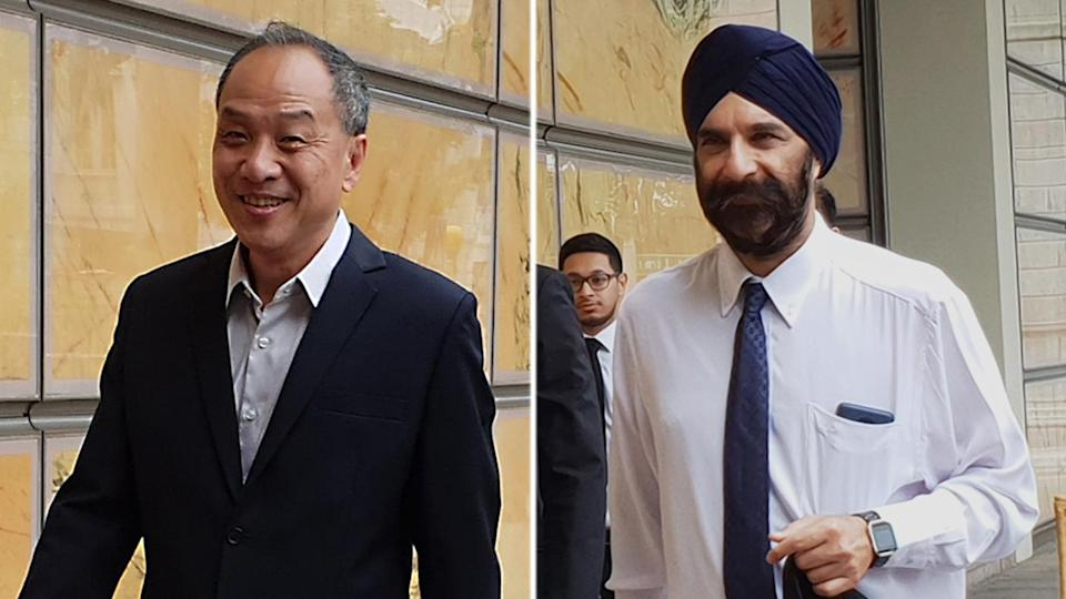 Workers' Party former chief Low Thia Khiang (left) was cross-examined by Senior Counsel Davinder Singh in the High Court on Tuesday afternoon (16 October). (PHOTOS: Wan Ting Koh / Yahoo News Singapore)