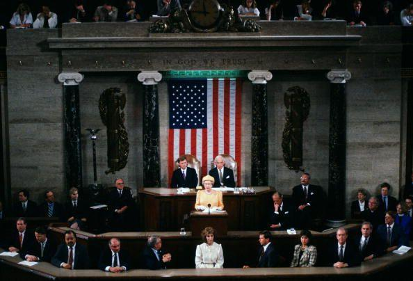 <p>While in Washington, D.C., Queen Elizabeth II delivers a speech in the Capitol.</p>