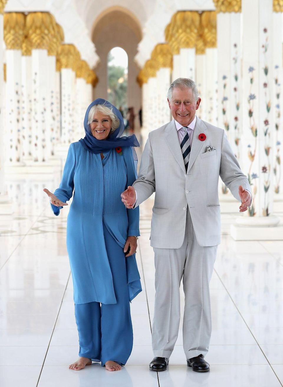 <p>Camilla and Charles visit the Grand Mosque on the first day of a Royal tour of the United Arab Emirates in Abu Dhabi.</p>