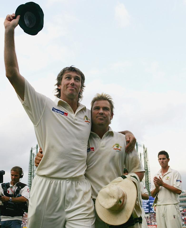 LONDON - SEPTEMBER 12:  Glenn McGrath and Shane Warne of Australia leave the field together at the end of England's innings during day five of the Fifth npower Ashes Test between England and Australia played at The Brit Oval on September 12, 2005 in London, United Kingdom  (Photo by Hamish Blair/Getty Images)