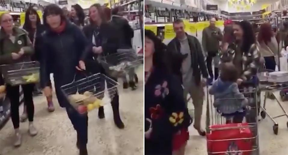 Footage circulating on social media shows a group of people walking through aisles in the supermarket in Chelmsford without masks.