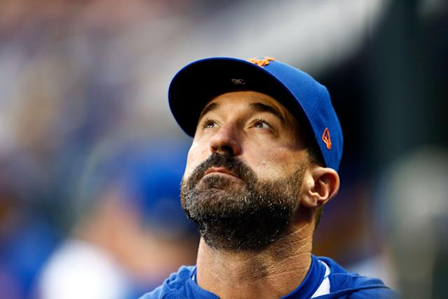 New York Mets manager Mickey Callaway looks on prior to a baseball game against the Miami Marlins on Friday, May 10, 2019, in New York. (AP Photo/Adam Hunger)