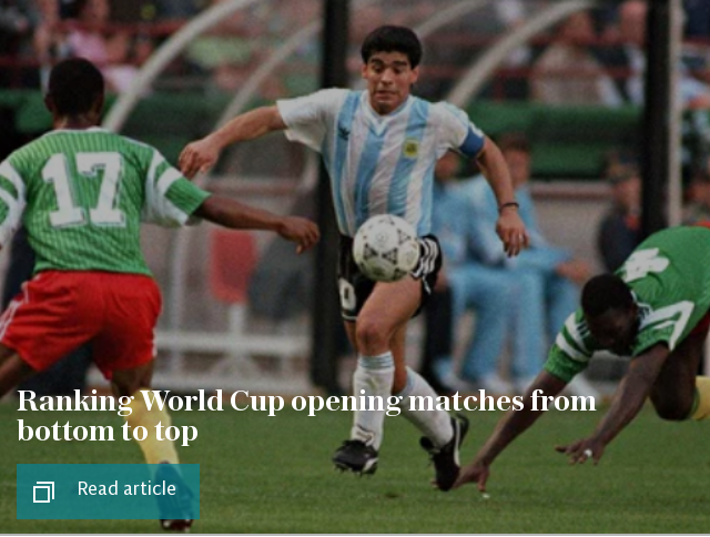 Ranking World Cup opening matches from bottom to top