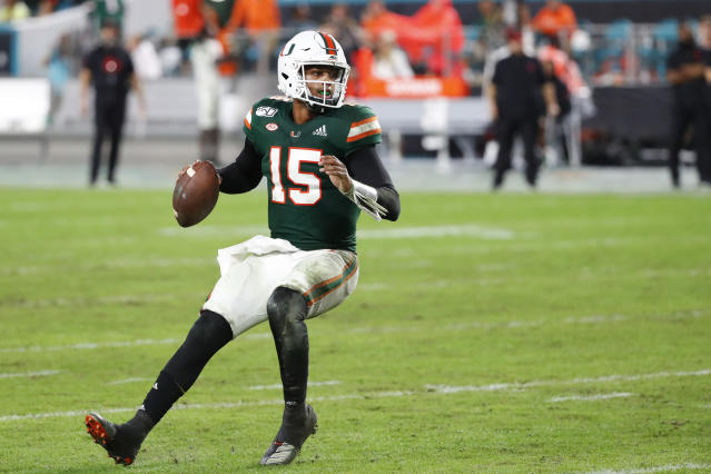 Miami quarterback Jarren Williams drops back to pass during the second half of the team's NCAA college football game against Louisville on Saturday, Nov. 9, 2019, in Miami Gardens, Fla. Williams set a school record with six touchdown passes as Miami won 52-27. (AP Photo/Wilfredo Lee)