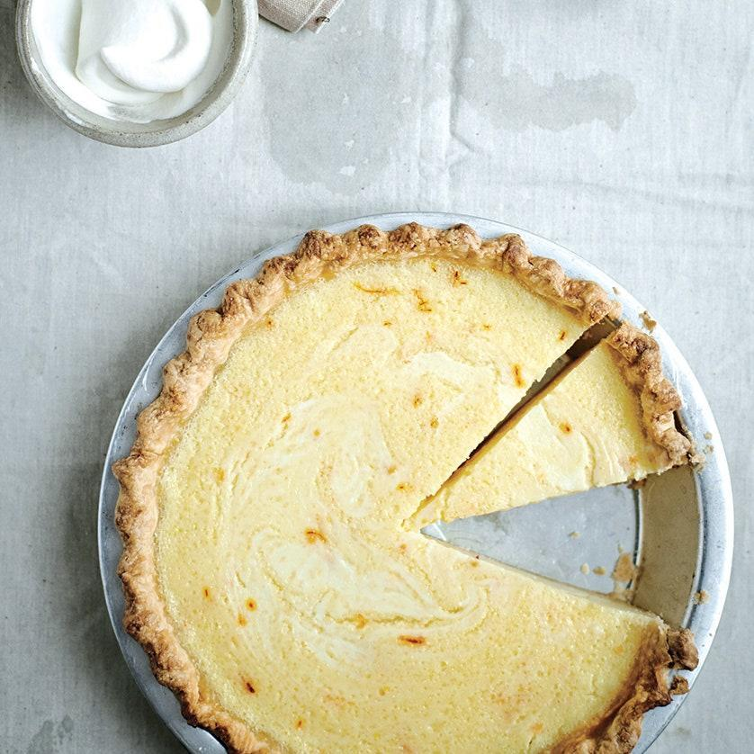 """This tangy and creamy pie gets a luxurious color and flavor boost from saffron. <a href=""""https://www.epicurious.com/recipes/food/views/lemon-buttermilk-pie-with-saffron-51223970?mbid=synd_yahoo_rss"""" rel=""""nofollow noopener"""" target=""""_blank"""" data-ylk=""""slk:See recipe."""" class=""""link rapid-noclick-resp"""">See recipe.</a>"""