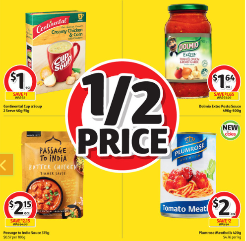 Four Coles half-price deals, including soup, pasta sauce, butter chicken sauce and meatballs.