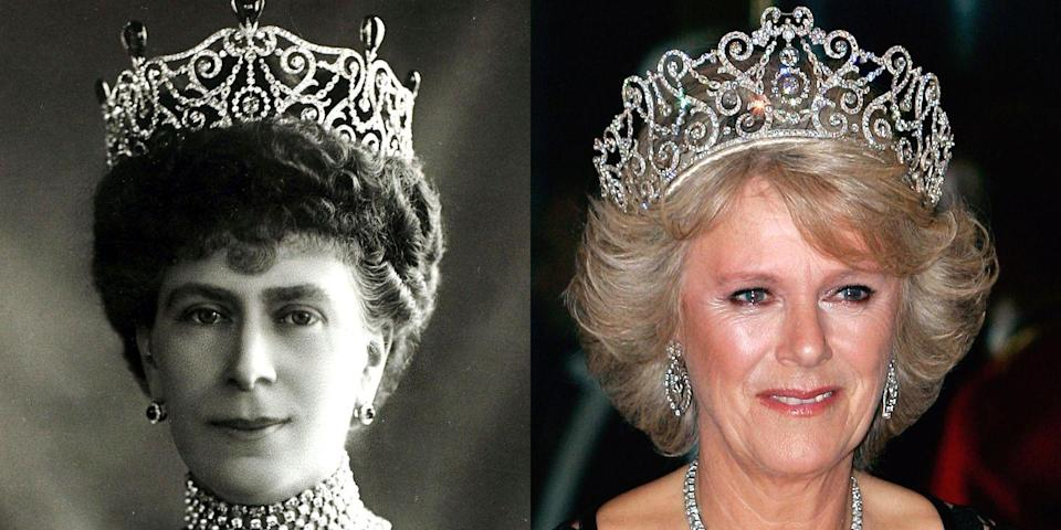 """<p>This <a href=""""https://web.archive.org/web/20160121093159/https://www.royalcollection.org.uk/exhibitions/diamonds-a-jubilee-celebration/delhi-durbar-tiara"""" rel=""""nofollow noopener"""" target=""""_blank"""" data-ylk=""""slk:tiara"""" class=""""link rapid-noclick-resp"""">tiara</a> was made for Queen Mary in 1911 and has since been altered. It was passed on to Queen Elizabeth II, who's loaned the tiara to the Duchess of Cornwall. As you can tell, it's among the biggest crowns in the family. Like, it's basically the size of a head.</p>"""