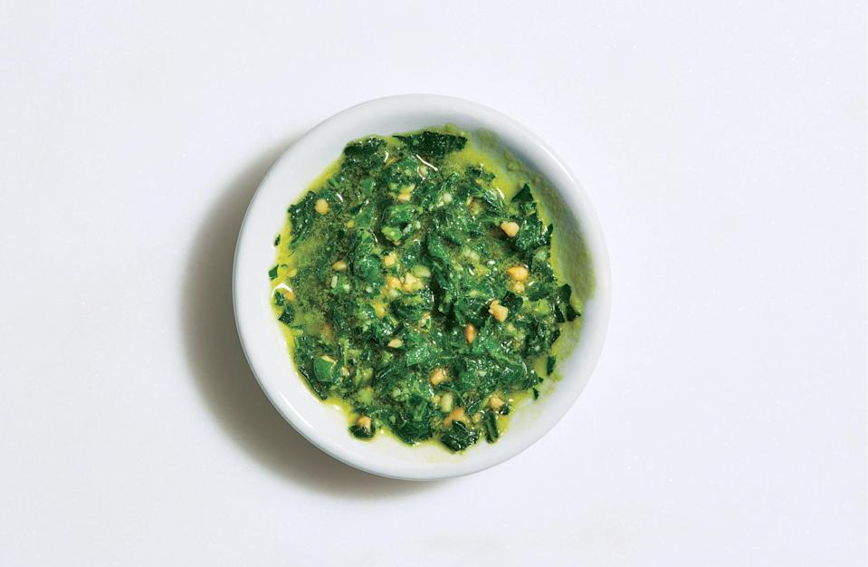 """You wouldn't blanch tender herbs such as basil, but doing so here softens the collards and kale. <a href=""""https://www.bonappetit.com/recipe/collard-greens-and-kale-pesto?mbid=synd_yahoo_rss"""" rel=""""nofollow noopener"""" target=""""_blank"""" data-ylk=""""slk:See recipe."""" class=""""link rapid-noclick-resp"""">See recipe.</a>"""