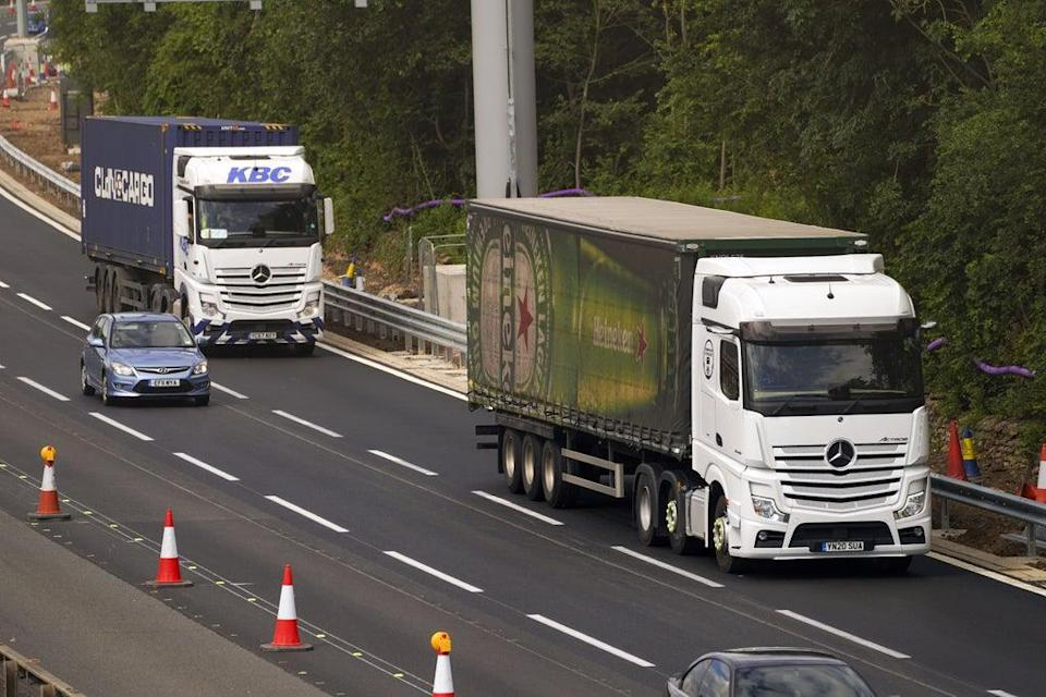 File photo dated 08/07/21 of an HGV lorry on the M4 motorway near Datchet (Steve Parsons/PA) (PA Wire)