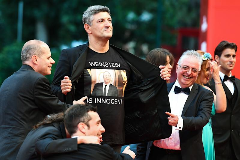 The Italian director Luciano Silighini Garagnani wore a T-shirt in support of Harvey Weinstein on the Venice Film Festival red carpet this weekend. (Photo: VINCENZO PINTO via Getty Images)