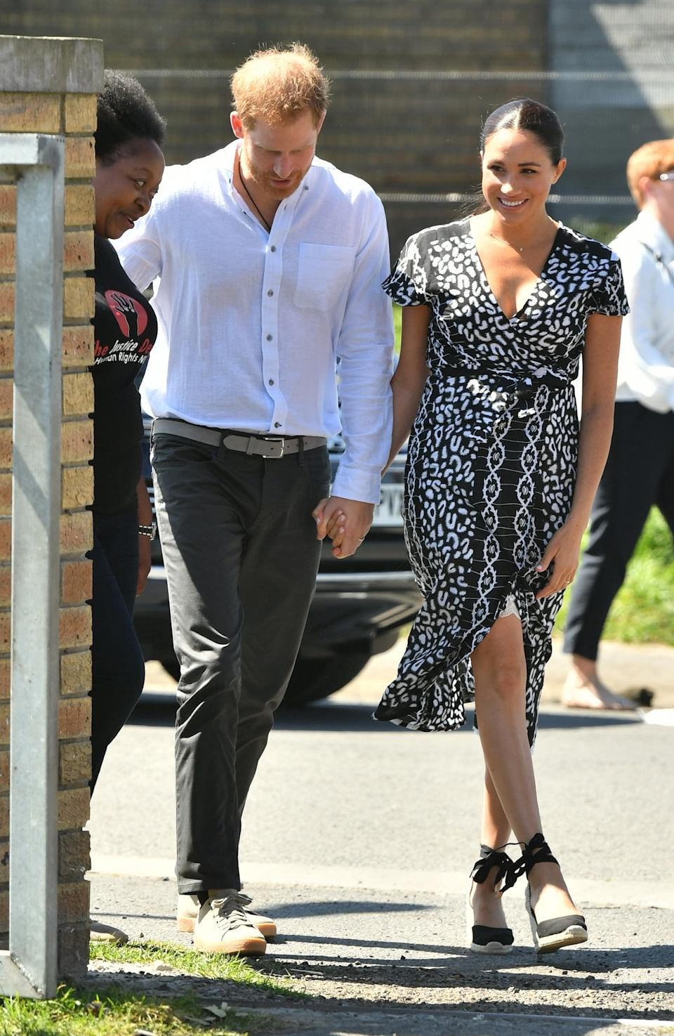 The Duke and Duchess of Sussex arrive at the Nyanga Township in Cape Town [Photo: PA]